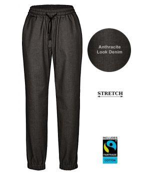 Pantalon Baggy Femme, Anthracite Look Denim, Ceinture élastique