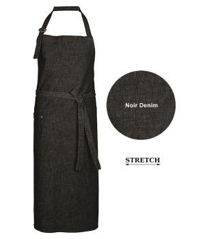 Tablier à bavette, Tablier de Cuisine Noir Denim, 77 x 100 cm, 1 poche