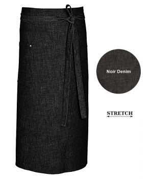 Tablier Bistro Noir Denim, Coutures Contrastées et Rivets, Coton Stretch