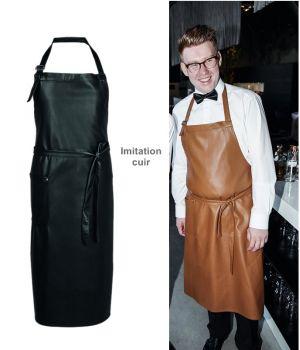 Tablier à bavette, Tablier de Cuisine Imitation cuir, 77 x 100 cm, 1 poche