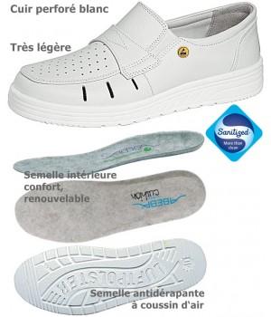Chaussures de travail, Dessus cuir perforé et doublure cuir, Semelle coussin d'air, Blanc