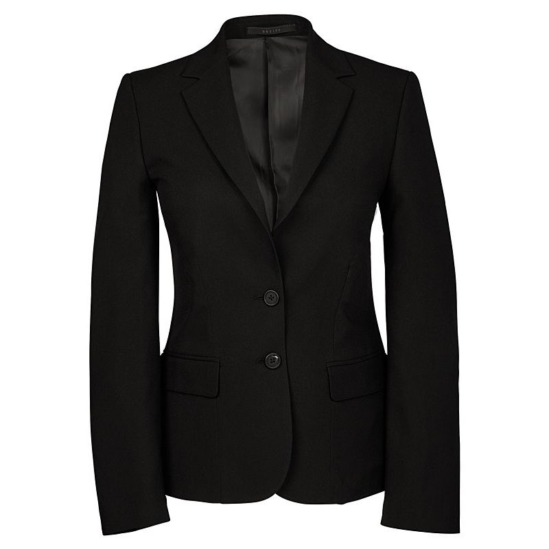 veste blazer noire femme regular fit 2 boutons 100 polyester. Black Bedroom Furniture Sets. Home Design Ideas