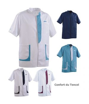 Tunique Homme, Col officier, Poche poitrine, Poches basses, Confort du Tencel
