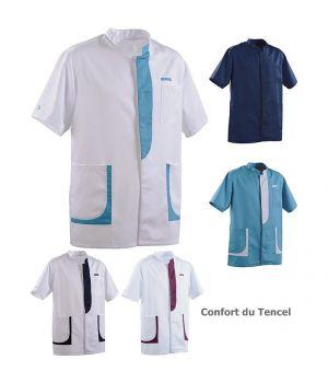 Tunique Homme, Col officier, Poche poitrine, Poches basses, Confort du Tencel®