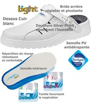Chaussures Light, Dessus cuir, Semelle antidérapante, Blanc