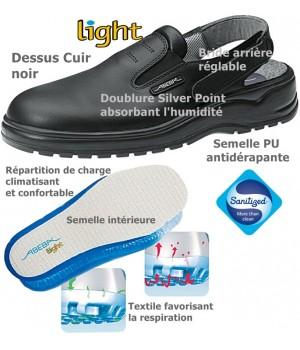Chaussures Light, Dessus cuir, Semelle antidérapante, Noir