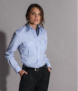 Chemisier Bleu femme manche longue, épaulettes, Entretien repassage facile