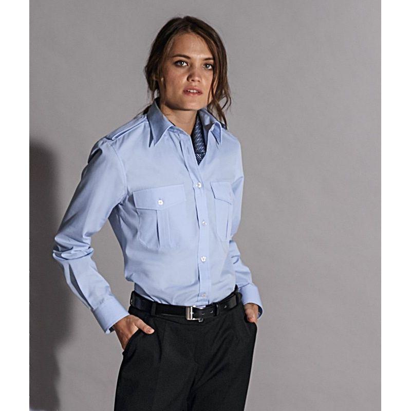 Chemisier Bleu femme manche longue, épaulettes, Entretien repassage facile  ... 3647225730cd