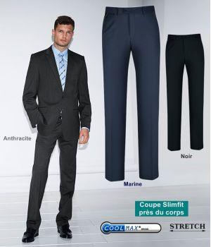 Pantalon Homme, Coupe ajustée, Bande stretch confort à la ceinture