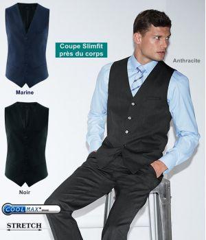 Gilet homme, 5 boutons, Coupe Slimfit ajustée, Tissu Confort Coolmax Stretch