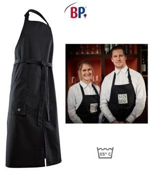 Tablier de Cuisine à Bavette, Noir, 100 x 100 cm, Fermeture réglable en continu