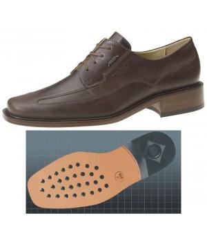 Chaussures homme, dessus en cuir de veau marron, doublure cuir de veau, confortable, Semelle d'usure en cuir à inserts