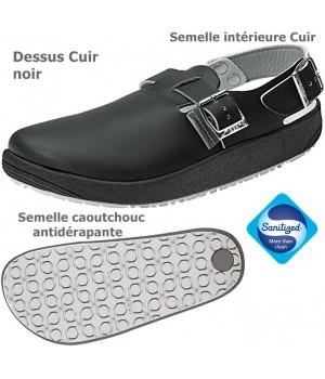 Chaussures de travail, Dessus en cuir, Semelle antidérapante, Noir