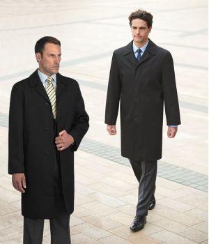 Manteau Homme Noir, Laine et Polyester, 3 Boutons, Fente au dos