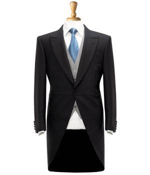 Veste Queue de Pie Noire pour Homme, 1 Bouton, 100% Laine