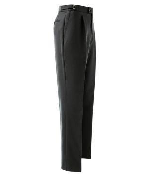 Pantalon Homme Noir à Pinces, 100% Laine, Ajustable à la taille