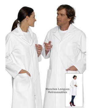 Blouse Médecin Homme ou Femme, Manches Longues Retroussables