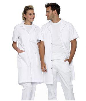 Blouse Médecin Homme et Femme, Manches Courtes, Col Revers