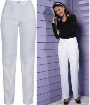 Pantalon blanc, élégant en 100% Polyester