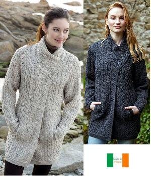 Manteau Femme Irlandais, Longueur 3/4, Laine Mérinos extra douce