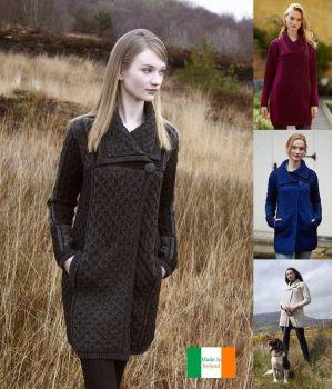 Manteau Irlandais femme, 100% Laine Mérinos extra douce, 2 tons