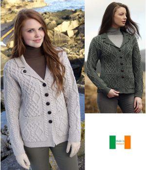 Cardigan Femme de style Irlandais, Col à revers, Points diamant et torsades