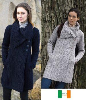 Beau Manteau Irlandais pour femme, Grand col chunky, laine mérinos