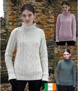 Chandail Femme Irlandais, Col cheminée, Look mince et élancé