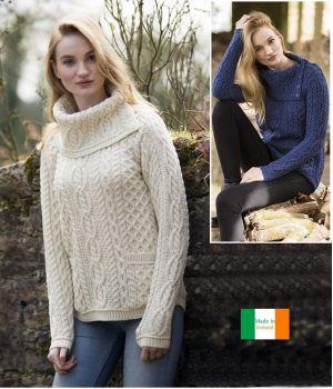 Chandail Irlandais pour Femme, Col Bénitier, Laine Mérinos Douce