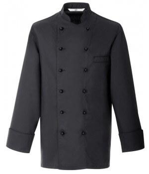 Veste de cuisine chef, Noire, Coton et Trevira chic et confortable.