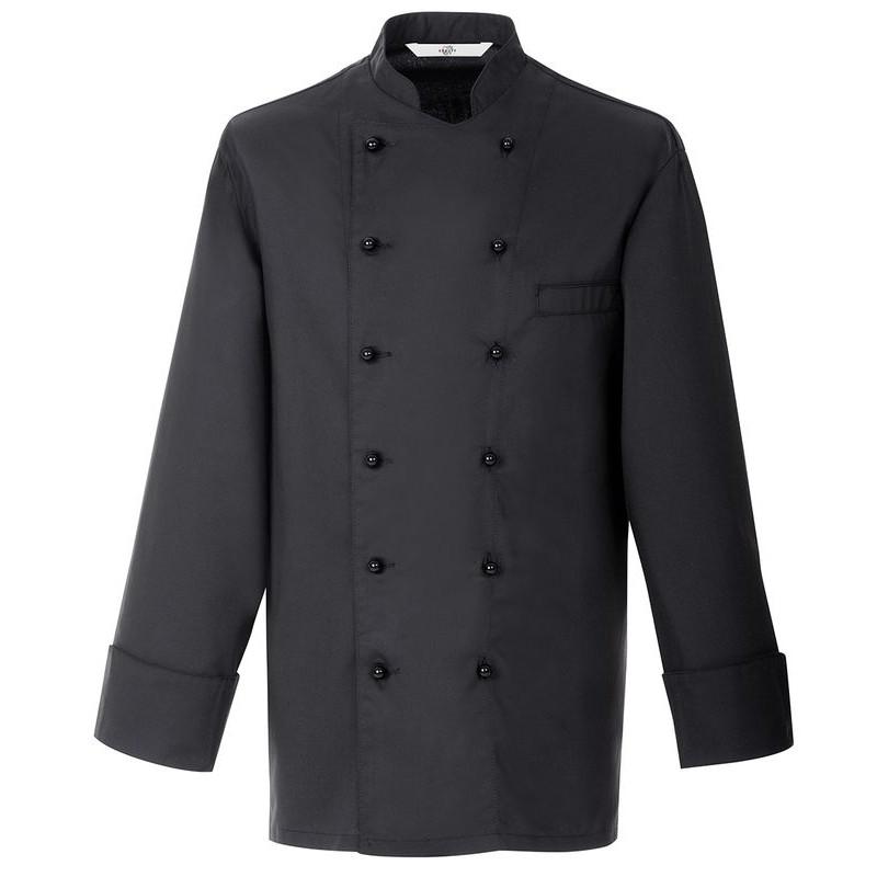 Veste de cuisine chef noire coton trevira chic et confortable Veste de cuisine orange