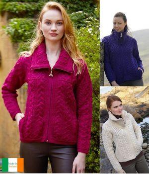 Cardigan Irlandais Femme, Fermeture zip, Grand confort, Laine Mérinos
