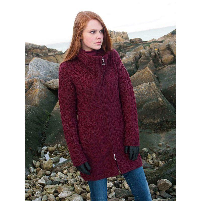 Manteau de laine, col double, fermeture à glissière celtique, laine Merino extra douce
