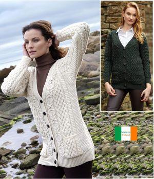 Cardigan Irlandais pour femme, Col en V, Laine Mérinos extra douce