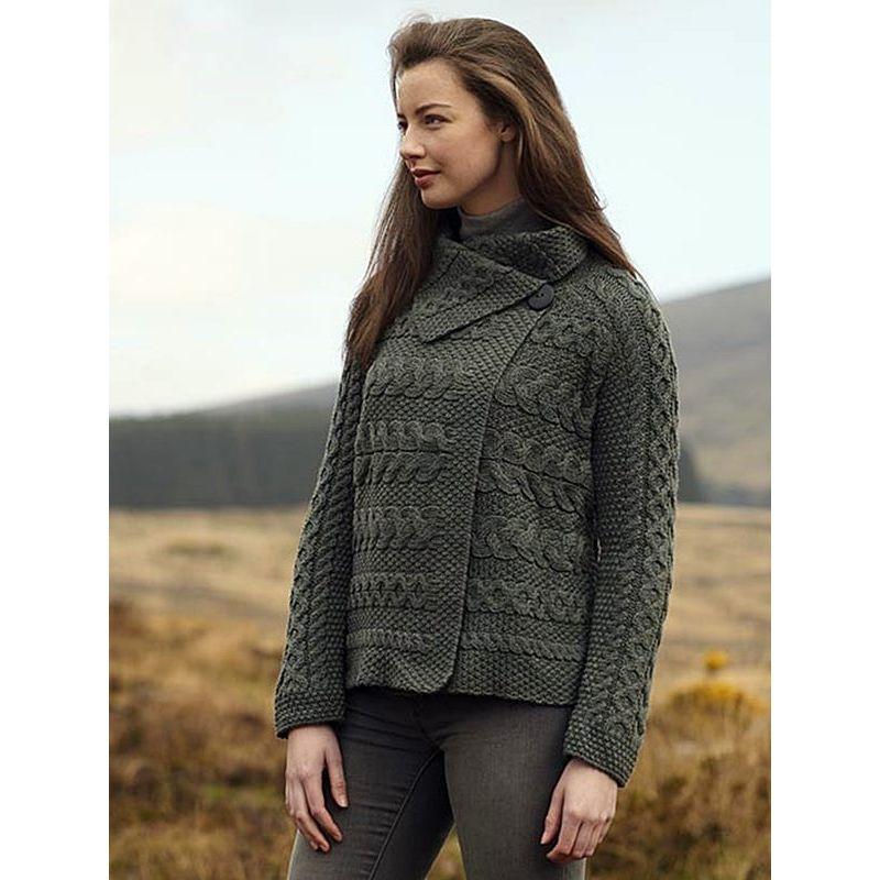 cardigan irlandais pour femme laine m rinos extra douce col avec bouton. Black Bedroom Furniture Sets. Home Design Ideas