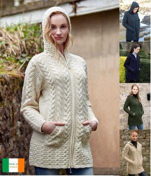 Cardigan Irlandais long, pour femme, à capuche, fermeture zip celtique, laine Merino