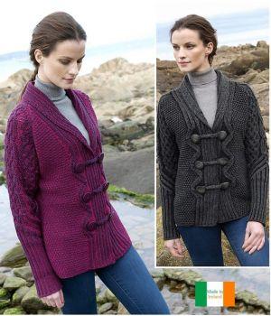 Cardigan Irlandais pour Femme, Col Châle, Magnifique boutonnage