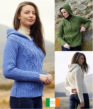 Pull Irlandais pour Femme à Capuche, Fermeture zip, Style Tendance