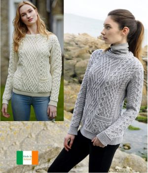 Pullover Sweater Irlandais Femme, Points Traditionnels, Maine Mérinos