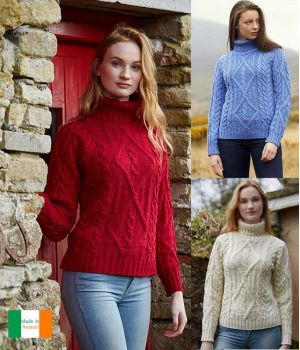 Pull Irlandais, femme, col roulé, laine Merino