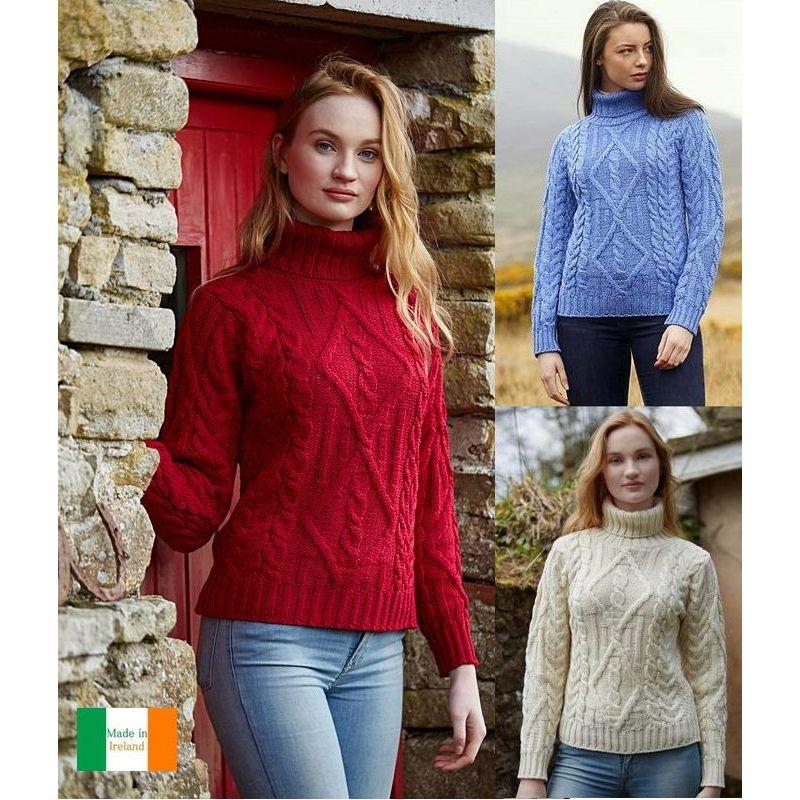 meilleur authentique 5e50a 16691 Pull Irlandais, femme, col roulé, laine Merino