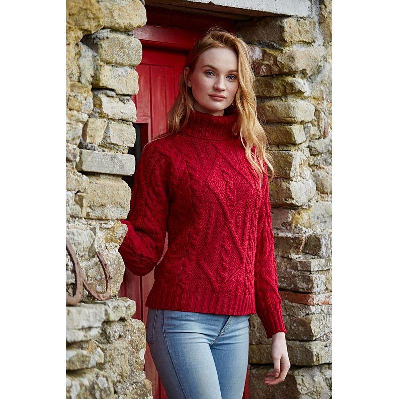726893877d10a ... Pull Irlandais, femme, col roulé, laine Merino, couleur Grenat ...