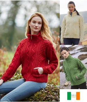 Cardigan Irlandais Femme, Fermetire zip, Laine Mérinos extra douce