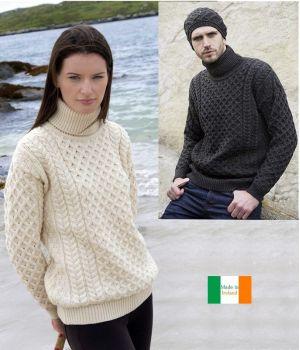 Pull Irlandais pour femme et homme, Col roulé, Laine Mérinos extra douce