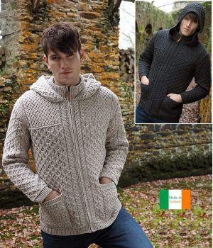 Veste Irlandaise Homme à capuche, Fermeture par Zip, Laine Mérinos