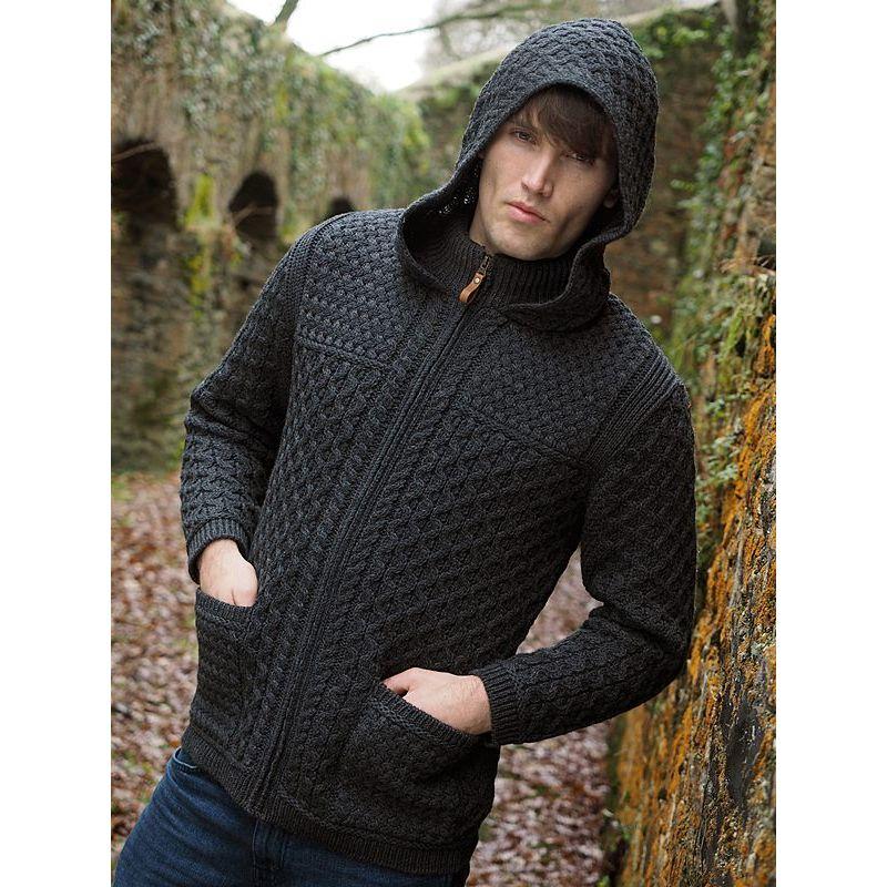 veste irlandaise homme capuche fermeture par zip laine. Black Bedroom Furniture Sets. Home Design Ideas