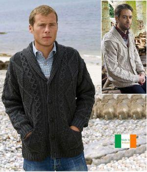 Veste Irlandaise, 100% pure laine Mérino, Col châle, pour homme et femme