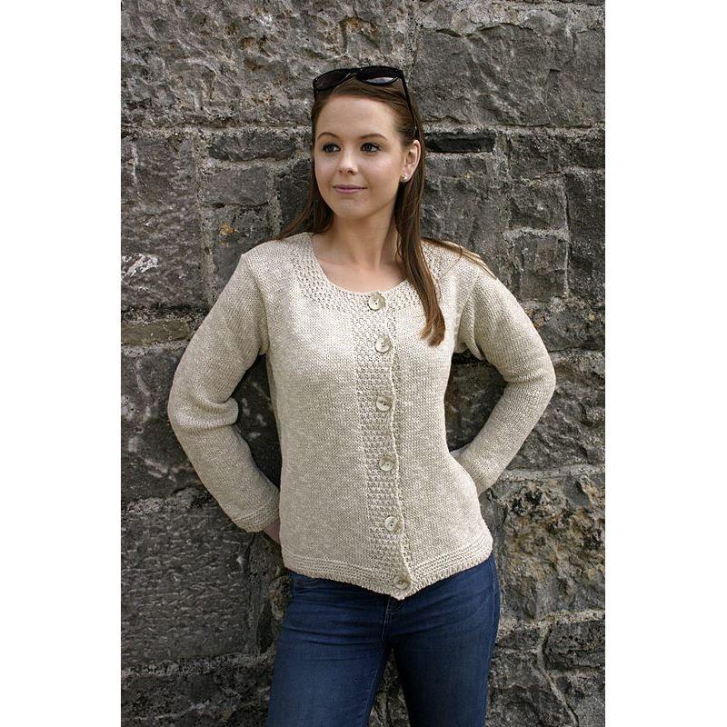 cardigan gilet femme 55 lin 45 coton effet crochet. Black Bedroom Furniture Sets. Home Design Ideas