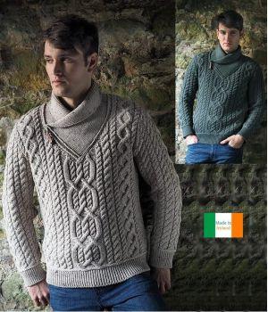 Chandail Irlandais Homme, Fermeture zip et tirette cuir sur col châle