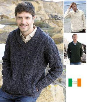 Pull Irlandais pour Homme à col châle en V, Laine Mérinos